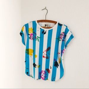 Vintage 80's striped turquoise tee t-shirt M L
